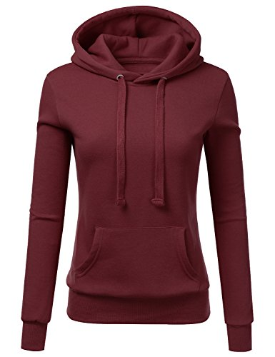 Hoody Burgundy Pullover (Doublju Basic Lightweight Pullover Hoodie Sweatshirt for Women Burgundy X-Large)