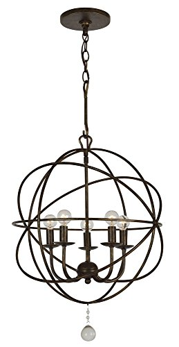 Crystorama 9224-EB Transitional Five Light Mini Chandelier from Solaris collection in Bronze/Darkfinish, 17.00 inches