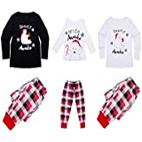 Gyrategirl Family Matching Christmas Pajamas Pjs Set Holiday Bearly Awake Long Sleeve Sleepwear Nightwear for Family