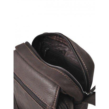 Charmoni-- Bolso bandolera para hombre piel de vaqueta, Cambrai marrón