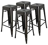 Hercke 30'' Stacking Metal Bar Stool (4 Pack) Steel - Gunmetal Gray - Kitchen Island Counter Industrial Indoor Outdoor Backless Chair | by SafeRacks (30'')