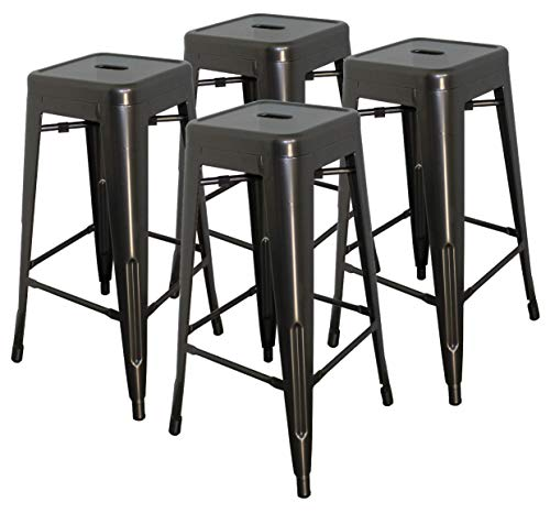 Hercke 30 Stacking Metal Bar Stool 4 Pack Steel – Gunmetal Gray – Kitchen Island Counter Industrial Indoor Outdoor Backless Chair by SafeRacks 30