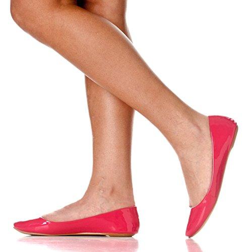 Riverberry Womens Aria Base Fermé Rond Toe Ballet Plat Slip Sur Chaussure Fuchsia Brevet