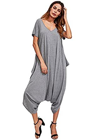 SheIn Women's Casual V Neck Short Sleeve Loose Harem Jumpsuit Romer X-Small Grey
