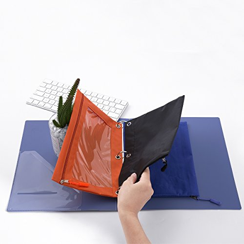 Binder Pencil Pouch with Zipper Pulls, Pencil Case with Rivet Enforced 3 Ring, 10 Pack 5 Colors by DoDoMagxanadu (Image #2)'