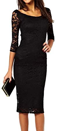 made2envy Boat Neckline 2/3 Sleeves Lace Overlay Evening Midi Dress (S, Black) C6287S