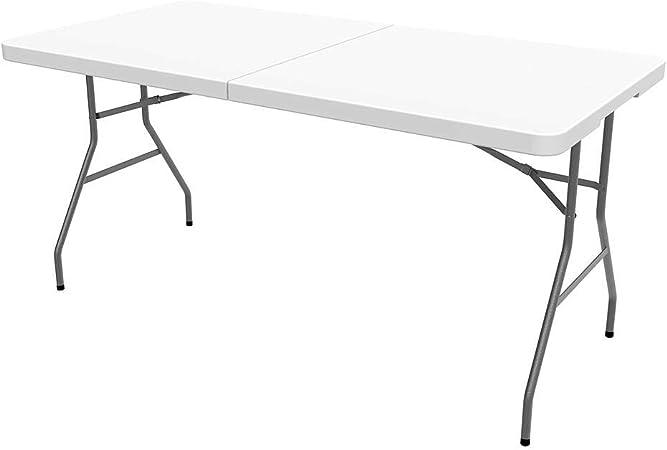 Tavolo Trasportabile 152 x 71.5 cm Carico massimo: 100 kg Tavolo Portatile Pieghevole Pieghevole a met/à Todeco Bianco Materiale: HDPE