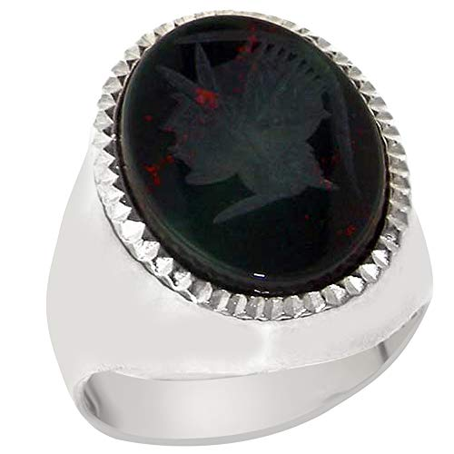 Solid 925 Sterling Silver Large Natural Intaglio Centurions Head Bloodstone Mens Signet Ring - Sizes 8 to 15 (Carved Intaglio)