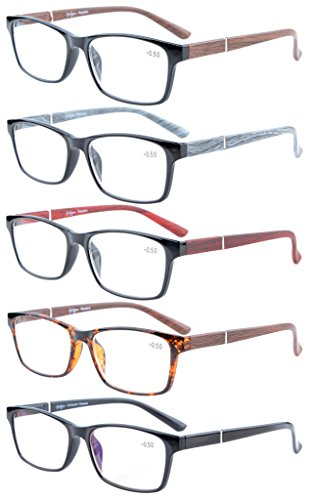 Eyekepper 5-Pack Spring Hinges Wood-Look Arms Crystal Clear Vision Reading Glasses Included Computer Glasses - Temple Length