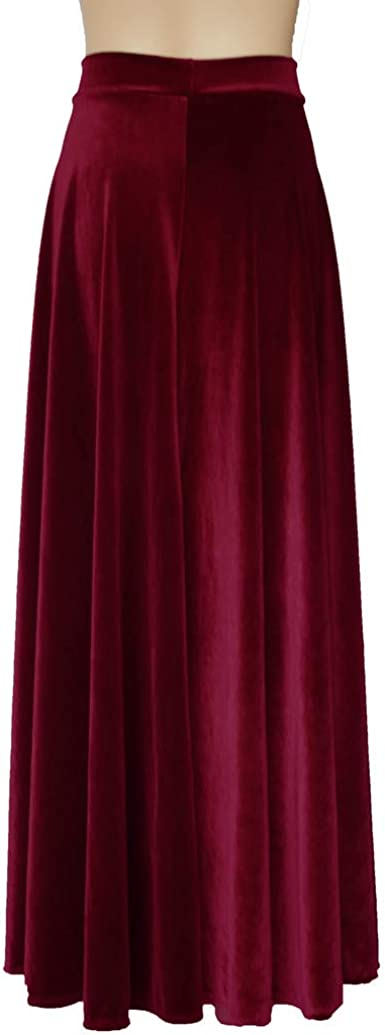 E K Long Velvet Skirt Bridesmaid Separates Formal Plus Size Bottoms Maxi Prom Party Outfit Wine