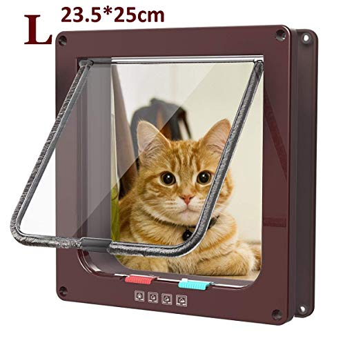 Pujuas Katzenklappe Hundeklappe mit 4-Wege-Magnet-Schließ, Haustierklappe für Katzen und kleine Hunde, Katzentüre mit…