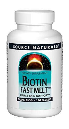 Biotin 10,000 mcg Hair Skin and Nail Support by Source Naturals. Non-GMO, Vegetarian, 120 Fast Melt - Source Naturals Biotin