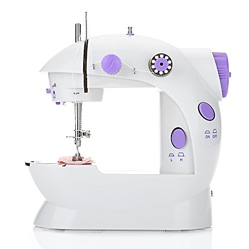 EleLight Portable Sewing Machine, Double Speed Mini Automatic Sewing Machine Thread Electric Crafting Mending Machine with Light and Foot Pedal for Fabric Clothing Home Travel Use by EleLight