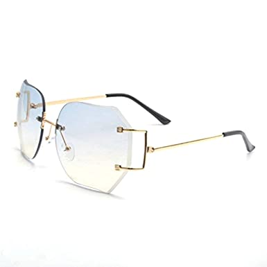 9d3cca67b84 MINCL Hot Oversized Rimless Sunglasses Women Clear Lens Eyewear  (gold-blue)  Amazon.co.uk  Clothing