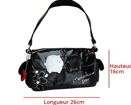 Monokuro Boo Brand Design Women's Handbag Pouch Bag in Black-Yin Yang Japanese Pigs and Hearts Motif-W 26x H 16cm