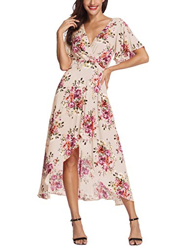 (Azalosie Wrap Maxi Dress Short Sleeve V Neck Floral Flowy Front Slit High Low Women Summer Beach Party Wedding Dress Apricot)