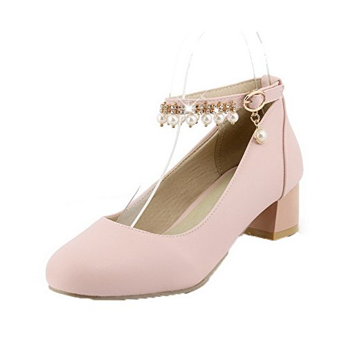 AmoonyFashion Womens Buckle Low-Heels PU Solid Round-Toe Pumps-Shoes Pink OABE4ti