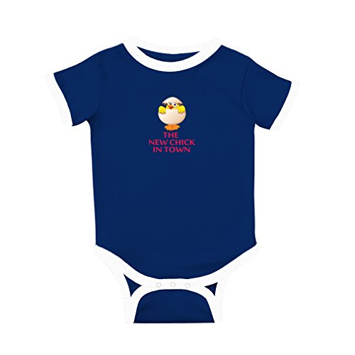 The New Chick in Town Cotton Short Sleeve Crewneck Unisex Baby Soccer Bodysuit Sports Jersey - Royal Blue, 6 Months (New Chick)