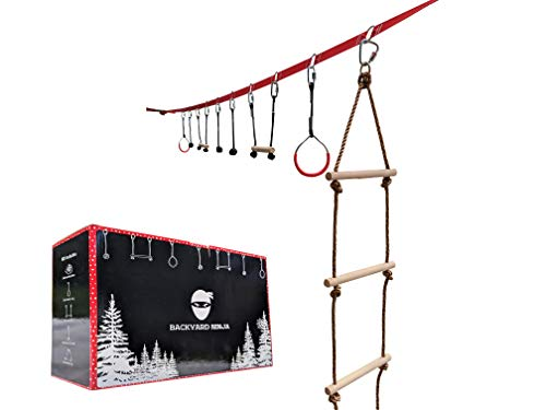 Learn More About Backyard Ninja Backyard 45 Foot Ninja Obstacle Course | Inspired by American Ninja Warrior Training Equipment | Slackline Swinging Monkey Bars Includes 9 Hanging Obstacles for Kids with Ladder