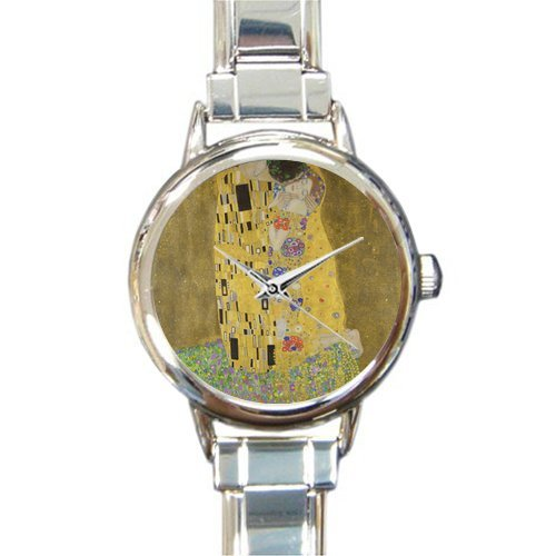 Round Italian Charm Watch The Kiss by Gustav Klimt Giclee Printed Stainless Steel Women