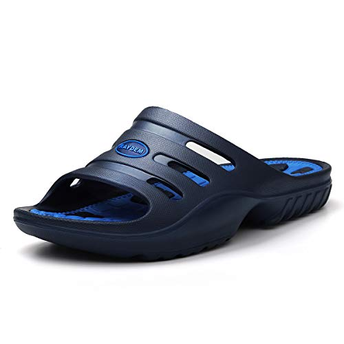 Raydem Men's Slide Sandals with Arch Support for Shower Pool Beach Sports Gym Spa Trip Outdoor House Blue 7