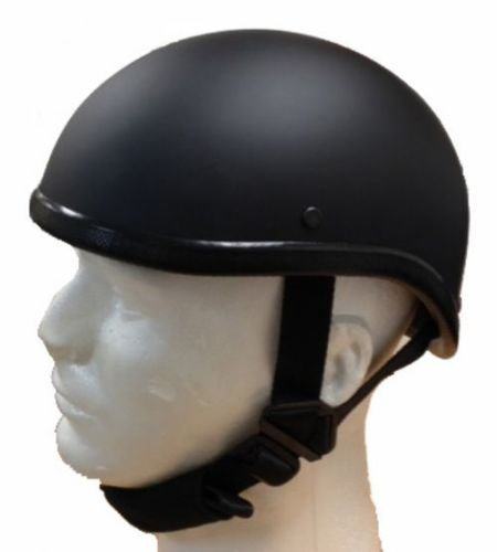 Gladiator Half Novelty Harley Motorcycle Helmet Skull Cap Flat Black Skid Lid (2XL, BLACK)