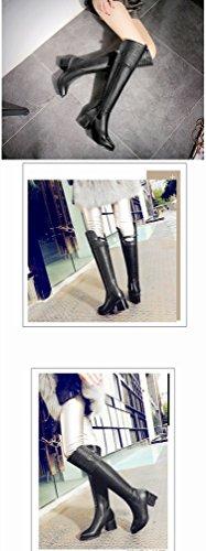 Laterale Donna Di Con Nero Pietra Da Più High Scarpe Invernali Caldo Cashmere Stivali Cilindri Cerniera Ani Modello Cavaliere 4qUfxw