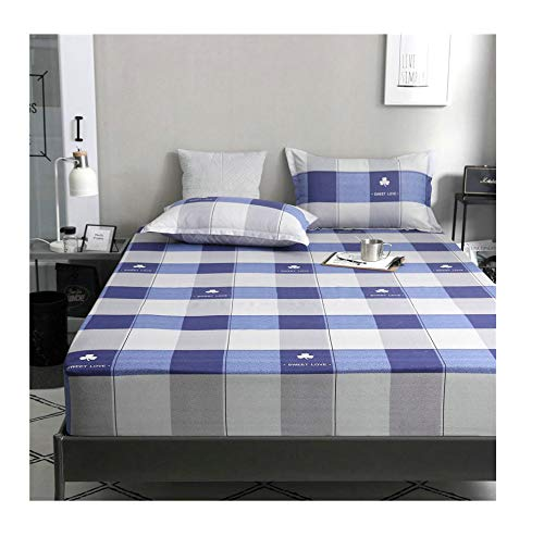 Protector Checkers Case (KFZ Lattice Stripe Printed Fitted Sheet Bedsheet Bed Protector Without Pillowcases for Kids Single Double Bed ZF1901 Plaid Plain Checker Designs 1PC (Plaid Stripe B, 39