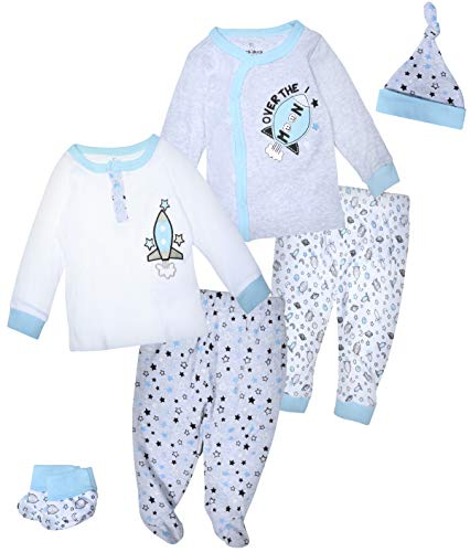 Duck Duck Goose Boys & Girls 6-Piece Cap, Shirt, and Pants Sets, Space, 3-6 Months'