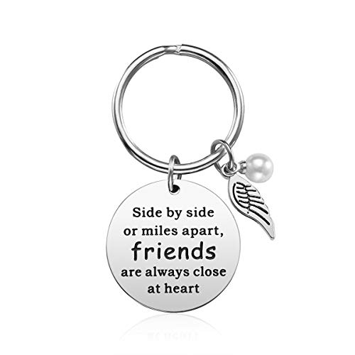 Best Friend Gifts Keychain - Friendship Gift for Women Girls, Birthday Gifts Graduation Gifts Christmas Gifts for Friends Female, Stainless Steel Jewelry (Long Distance Friend)