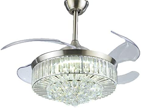Modern Dimmable Fandelier Crystal Ceiling Fan