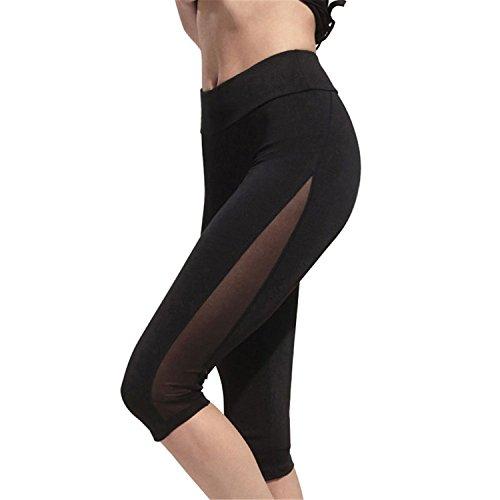 Pickin Women Leggings mesh Splice Fitness Calf-Length Cropped Legging Slim,Small,Black Leggings