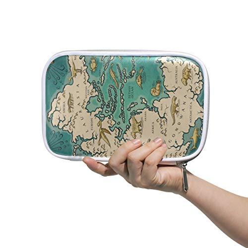 Pangaea Holder - Map of The Supercontinent Pangaea Pencil Case Holder Slot - Zipper Closure - Large Capacity Pen Organizer Portable Cosmetic Case