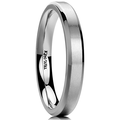(King Will Basic Womens 3MM Titanium Ring Brushed/Matte Comfort Fit Flat Wedding Band for Men)