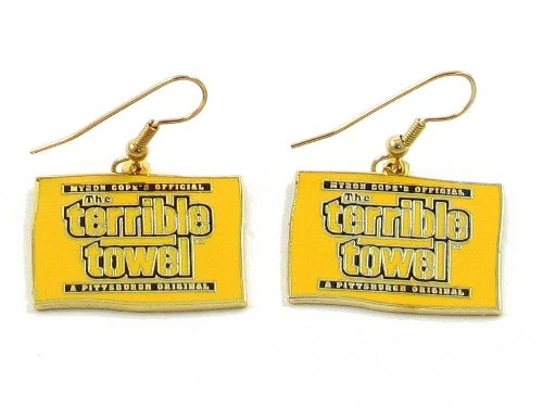 Pittsburgh Steelers Official Terrible Towel Dangle Earrings - NFL at Steeler Mania