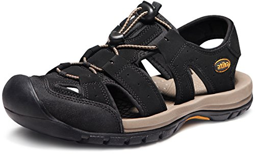 ATIKA Men's Sports Sandals Trail Outdoor Water Shoes 3Layer Toecap, Cairo(m108) - Black, 7 (Mens Rugged Casual Sandal)