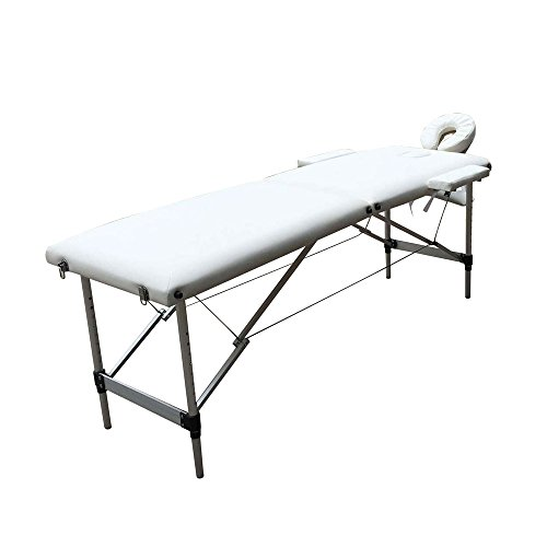 GNTOP Folding Massage Professional Table 2 Sections Portable Massage Bed Aluminum Tube Frame Lightweight Adjustable Height Salon Spa Table Kit