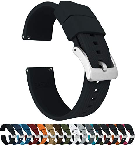 Mens Watch Black Band - Barton Elite Silicone Watch Bands - Quick Release - Choose Strap Color & Width - Black 22mm
