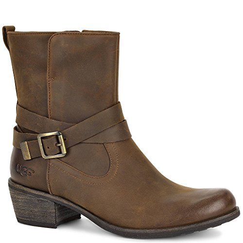 UGG Women's Lorraine Chocolate/Water Resistant Leather Boot VZFLh7Tc