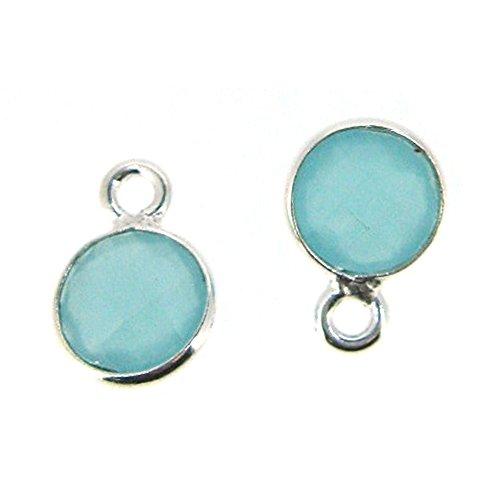 Bezel Gemstone Pendant - Tiny Circle Shape - 7mm - Sterling Silver Bezel Gem (2 pcs) (Peru Chalcedony)