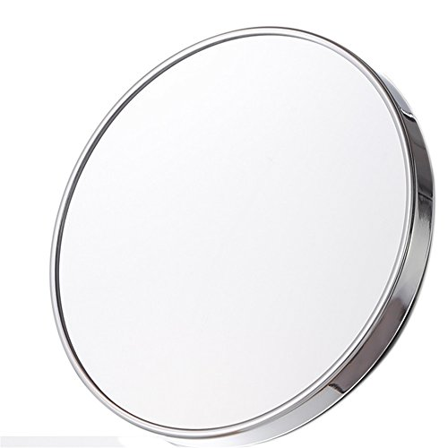 Acrylic Mirror Traveler (5X Magnifying Mirror, OWIKAR No Fog Shower Mirror Round Mirror with Three Suction Cups for Grooming, Tweezing, Makeup Removal Highest Rated Shaving Mirror)