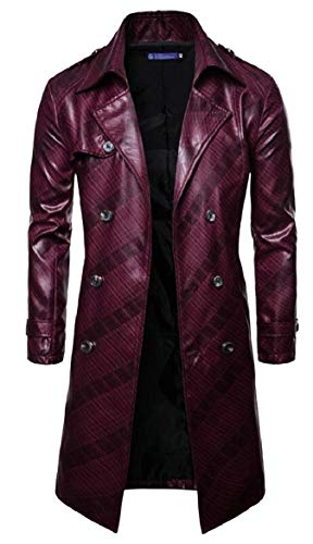 security Men Fashions Classic Military Officer Faux Leather Trench Coat Wine Red