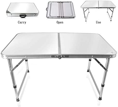 Modern-Depo 3Ft Aluminum Folding Camping Table Height Adjustable Legs for Indoor Outdoor Party Picnic Dining Beach Backyards BBQ White