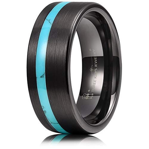 THREE KEYS JEWELRY 8mm Men's Tungsten Rings with Green Turquoise Inlay Black Carbide Brushed Wedding Bands for Men Women Comfort Fit Size 9 -