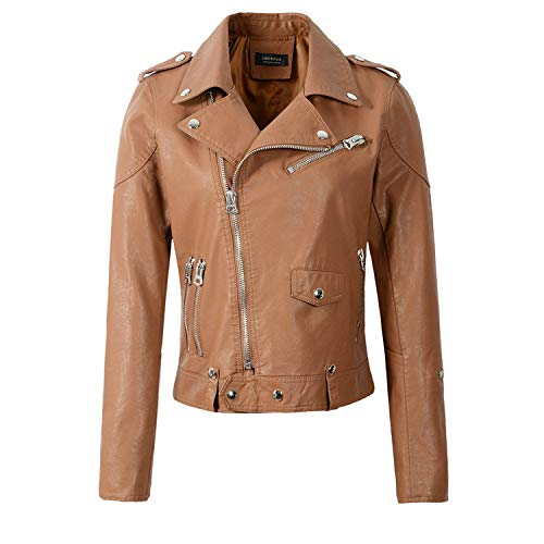 - Heart .Attack jacket Women PU Jackets and Coats Lady Zippers Motorcycle Cool Outerwear Streetwear,Coffee,M