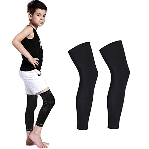 (Luwint Long Compression Leg Sleeves for Kids Comfortable Non-Slip UV Protection Thigh Calf Brace Support for Basketball Running Cycling, 1 Pair (Black M))