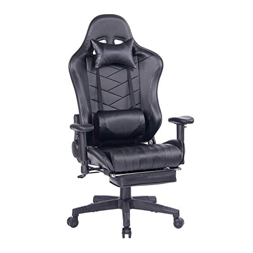 HEALGEN Gaming Chair with Retractable Footrest Gamer Chair Racing Style Gaming Chairs PC Computer Video Game Chair High Back Ergonomic Office Chair with Headrest Lumbar Support Cushion (Black)