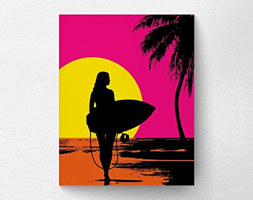 Surfer Beach Poster Summer Sunset product image