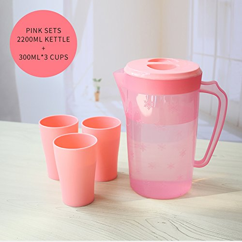 UPSTYLE Food-Grade Plastic Covered Pitcher with Lid Water Bottle Container Juice Jug Great for Cold Water, Ice Tea, Juice, Fruit and Beverages(2.2L/2Quart Pink (Set Cup Jug)