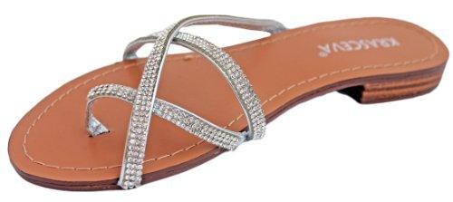 Mesdames Plat Argenté Diamante Sangle Sandales